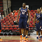 Nnanna Egwu #32 of the Illinois Fighting Illini leads his team onto the court during the NIT First Round game at Agganis Arena on March 19, 2014 in Boston, Massachusetts . (Photo by Elan Kawesch)