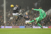 Derby County attacker Tom Ince (10) chasing down a backpass during the EFL Sky Bet Championship match between Fulham and Derby County at Craven Cottage, London, England on 17 December 2016. Photo by Matthew Redman.