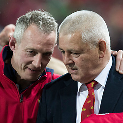 Rob Howley and Warren Gatland during game 9 of the British and Irish Lions 2017 Tour of New Zealand, the second Test match between  The All Blacks and British and Irish Lions, Westpac Stadium, Wellington, Saturday 1st July 2017<br /> (Photo by Kevin Booth Steve Haag Sports)<br /> <br /> Images for social media must have consent from Steve Haag