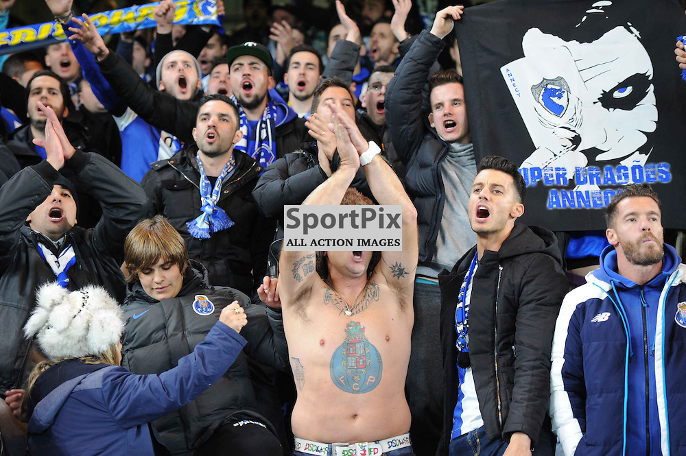 FC Porto fans before the match. Chelsea v FC Porto Champions League match in the group stage on the 9th December 2015.