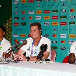 Herschel Jantjies with Rassie Erasmus (Head Coach) of South Africa and Siya Kolisi (c) during the Kagoshima training camp: Media conference,Official RWC 2019 Arrivals Media Conference – Head coach and captain, assistant coach and six players available for interviews Friday 13th September 2019 (Mandatory Byline -Steve Haag Sports Hollywoodbets)