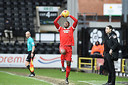 Leyton Orient defender Jerome Binnom-Williams takes a throw in during the Sky Bet League 2 match between Notts County and Leyton Orient at Meadow Lane, Nottingham, England on 20 February 2016. Photo by Jon Hobley.