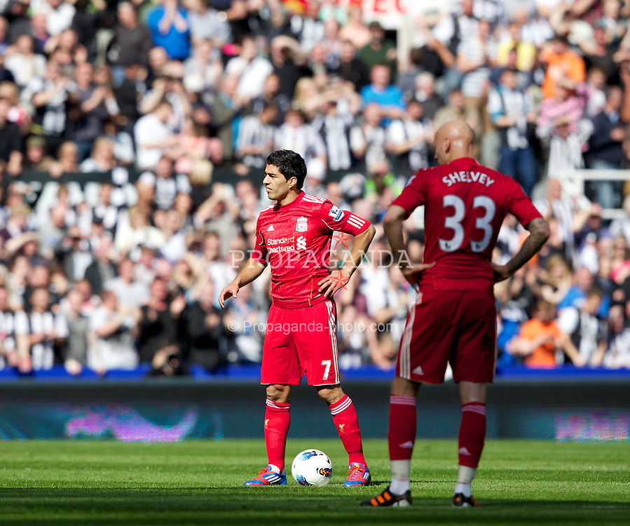 NEWCASTLE-UPON-TYNE, ENGLAND - Sunday, April 1, 2012: Liverpool's Luis Alberto Suarez Diaz and Jonjo Shelvey look dejected as Newcastle United score the first goal during the Premiership match at St James' Park. (Pic by Vegard Grott/Propaganda)