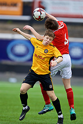 MERTHYR TYDFIL, WALES - Thursday, November 2, 2017: Newport County's Max Llewellyn and Wales' Guto Williams during an Under-18 Academy Representative Friendly match between Wales and Newport County at Penydarren Park. (Pic by David Rawcliffe/Propaganda)