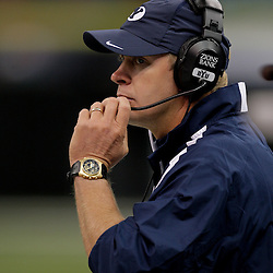 Sep 12, 2009; New Orleans, LA, USA;  BYU Cougars head coach Bronco Mendenhall against the Tulane Green Wave in the first quarter at the Louisiana Superdome.  Mandatory Credit: Derick Hingle-US PRESSWIRE