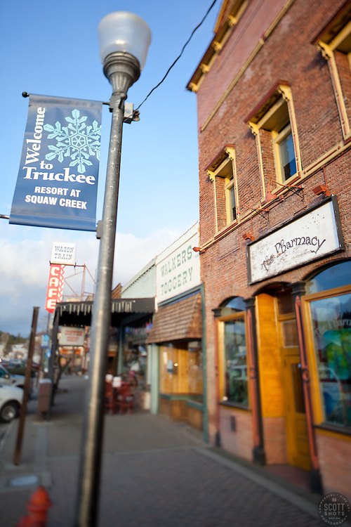 """Downtown Truckee 10"" - Photograph of a Welcome to Truckee sign in historic Downtown Truckee, California. A tilt-shift lens was used to achieve the focus effect."