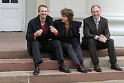 documenta12. Official photo op of documenta staff and artists at Fridericianum..Bernd Leifeld, documenta Executive Director (r.), Artistic Director Roger M. Buergel. Curator Ruth Noack.