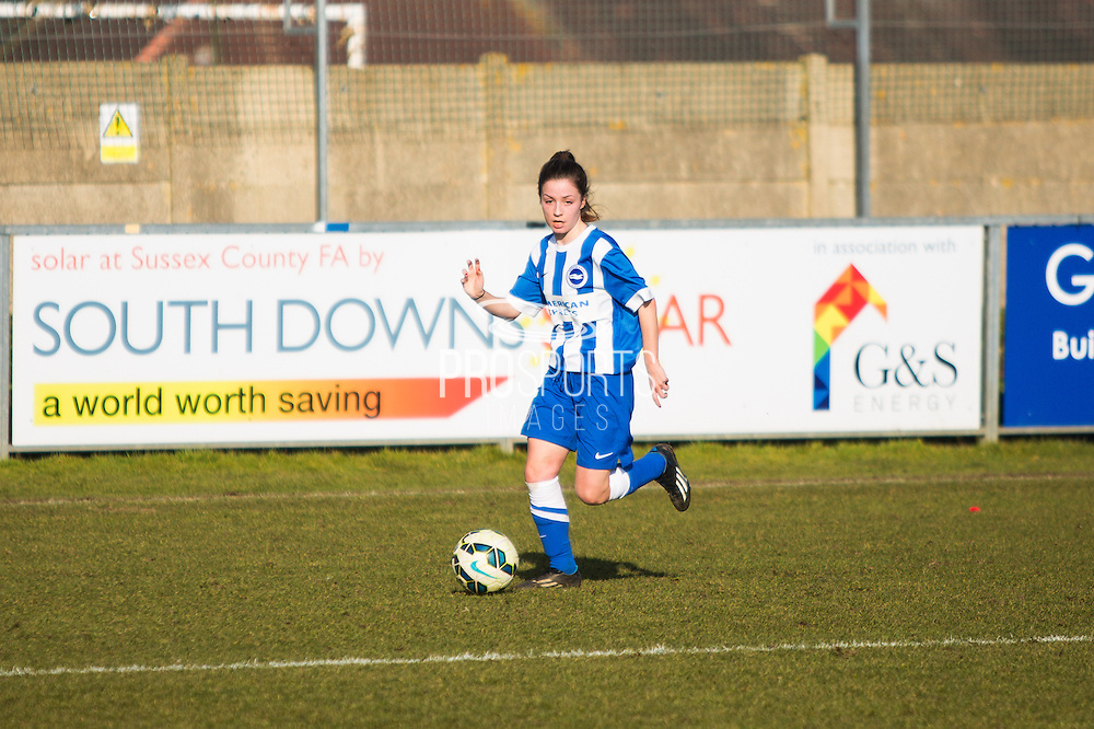 Charlotte Owen on the wing during the FA Women's Sussex Challenge Cup semi-final match between Brighton Ladies and Hassocks Ladies FC at Culver Road, Lancing, United Kingdom on 15 February 2015. Photo by Geoff Penn.