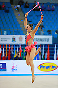 Volkova Ekaterina during qualifying at clubs in Pesaro World Cup 11 April 2015. Ekaterina was born in Vantaa, Finland, 1997. She is a Finnish individual rhythmic gymnast.