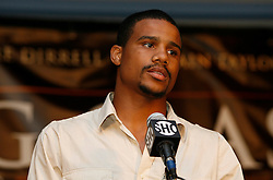 July 13, 2009; New York, NY, USA; Andre Dirrell speaks at the press conference announcing the Super Six World Boxing Classic Tournament at Madison Square Garden in New York City.