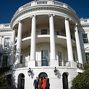 Pres. Bush and First Lady Laura Bush greet President-elect Barack Obama and wife Michelle Obama at the South Portico of the White House Monday, November 11, 2008...Photo by Khue Bui