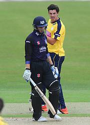 Chris Wood of Hampshire celebrates as Chris Dent of Gloucestershire is caught out by Joe Gatting  - Photo mandatory by-line: Dougie Allward/JMP - Mobile: 07966 386802 - 14/07/2015 - SPORT - Cricket - Cheltenham - Cheltenham College - Natwest T20 Blast