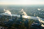 Nederland, Noord-Brabant, Moerdijk, 07-02-2018; Industrieterrein Moerdijk, met aan de Derde Insteekhaven Essent energie centrale en Attero Afvalverwerkingsbedrijf. Zicht op raffinaderij Shell Moerdijk.<br /> Industrial park Moerdijk<br /> <br /> luchtfoto (toeslag op standard tarieven);<br /> aerial photo (additional fee required);<br /> copyright foto/photo Siebe Swart