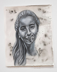 April 26, 2018 - Tampa, Florida, U.S. - A charcoal portrait of Parkland victim Gina Montalto, by Symone Hall in the BFA show at the Scarfone/Hartley Gallery at the University of Tampa, on April 26, 2018 in Tampa, Fla. (Credit Image: © Monica Herndon/Tampa Bay Times via ZUMA Wire)