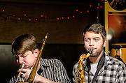 Ray Long (trombone) and Zach Winger (sax) with Scott McClatchy at The Bus Stop Music Cafe in Pitman, NJ.