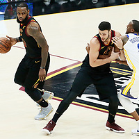 CLEVELAND, OH - JUN 3: LeBron James #23 of the Cleveland Cavaliers drives past Andre Iguodala #9 of the Golden State Warriors on a screen set by Larry Nance Jr. #22 of the Cleveland Cavaliers in Game Three of the 2018 NBA Finals won 110-102 by the Golden State Warriors over the Cleveland Cavaliers at the Quicken Loans Arena on June 6, 2018 in Cleveland, Ohio. NOTE TO USER: User expressly acknowledges and agrees that, by downloading and or using this photograph, User is consenting to the terms and conditions of the Getty Images License Agreement. Mandatory Copyright Notice: Copyright 2018 NBAE (Photo by Chris Elise/NBAE via Getty Images)