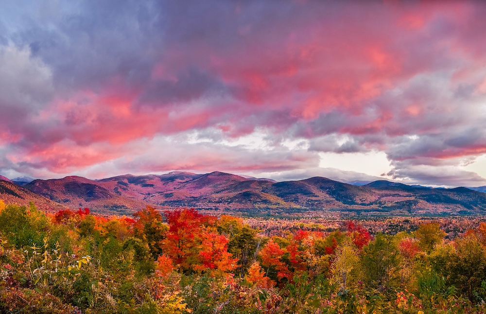 Saco River Valley, White Mountain National Forest in fall, pink clouds at first light, Bartlett, NH