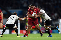 Mako Vunipola of England takes on the Fiji defence - Mandatory byline: Patrick Khachfe/JMP - 07966 386802 - 18/09/2015 - RUGBY UNION - Twickenham Stadium - London, England - England v Fiji - Rugby World Cup 2015 Pool A.