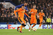 Leo Jaba of PAOK FC (98) battles for possession with Ruben Loftus-Cheek of Chelsea (12) during the Champions League group stage match between Chelsea and PAOK Salonica at Stamford Bridge, London, England on 29 November 2018.