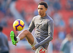MANCHESTER, ENGLAND - Sunday, February 24, 2019: Liverpool's Trent Alexander-Arnold during the pre-match warm-up before the FA Premier League match between Manchester United FC and Liverpool FC at Old Trafford. (Pic by David Rawcliffe/Propaganda)