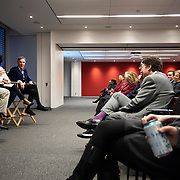 April 17, 2018 - New York, NY : The New York Times hosted Bill Nye for a conversation about climate change with New York Times science writer James Gorman and NYC Rising producer Geraldine Moriba at the Times building on Tuesday evening. Here, from left, Gorman, Moriba, and Nye speak.  CREDIT: Karsten Moran for The New York Times