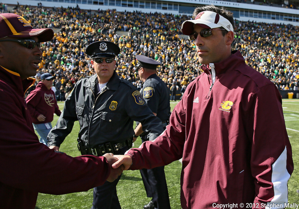 September 22 2012: Central Michigan Chippewas head coach Dan Enos walks off the field after the end of the NCAA football game between the Central Michigan Chippewas and the Iowa Hawkeyes at Kinnick Stadium in Iowa City, Iowa on Saturday September 22, 2012. Central Michigan defeated Iowa 32-31.