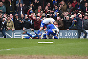 Bury Forward, Leon Clarke celebrates a goal along with the fans during the Sky Bet League 1 match between Bury and Doncaster Rovers at the JD Stadium, Bury, England on 9 April 2016. Photo by Mark Pollitt.