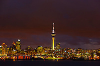 Skyline of Auckland featuring the Sky Tower (the tallest free-standing structure in the Southern Hemisphere), Auckland, New Zealand