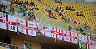Fans of England display their flags during the 2014 FIFA World Cup match at Arena da Amazonia, Manaus<br /> Picture by Andrew Tobin/Focus Images Ltd +44 7710 761829<br /> 14/06/2014