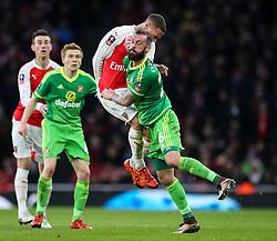 Kieran Gibbs of Arsenal and Steven Fletcher of Sunderland clash going for the ball - Mandatory byline: Jason Brown/JMP - 07966386802 - 09/01/2016 - FOOTBALL - Emirates Stadium - London, England - Arsenal v Sunderland - The Emirates FA Cup