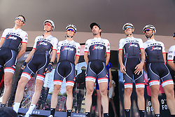 Trek-Segafredo team at sign on before the start of Stage 2 of the 2016 Giro d'Italia running 190km from Arnhem to Nijmegen, The Nethrerlands. 7th May 2016.<br /> Picture: Eoin Clarke | Newsfile<br /> <br /> <br /> All photos usage must carry mandatory copyright credit (© Newsfile | Eoin Clarke)
