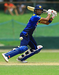 October 5, 2018 - Colombo, Sri Lanka - Sri Lankan cricket captain Dinesh Chandimal plays a shot during the ODI match between England and Sri Lanka Board XI at P Sara Oval cricket ground, Colombo, Sri Lanka...10.05.2018  (Credit Image: © Tharaka Basnayaka/NurPhoto/ZUMA Press)