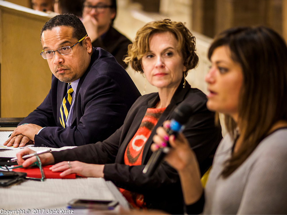 """18 APRIL 2017 - MINNEAPOLIS, MN: Rep. KEITH ELLISON, D-MN 5th District, and BETSY HODGES, mayor of Minneapolis, at a """"Town Hall"""" style community meeting related to immigration at Incarnation Catholic Church in Minneapolis, MN. About 200 people attended the meeting. Congressman Ellison hosted the meeting.     PHOTO BY JACK KURTZ"""