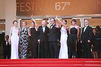 Miranda Otto, Sonja Richter, guest, Gilles Jacob, Tommy Lee Jones, Hilary Swank, a guest and Thierry Fremaux at the The Homesman gala screening red carpet at the 67th Cannes Film Festival France. Sunday 18th May 2014 in Cannes Film Festival, France.