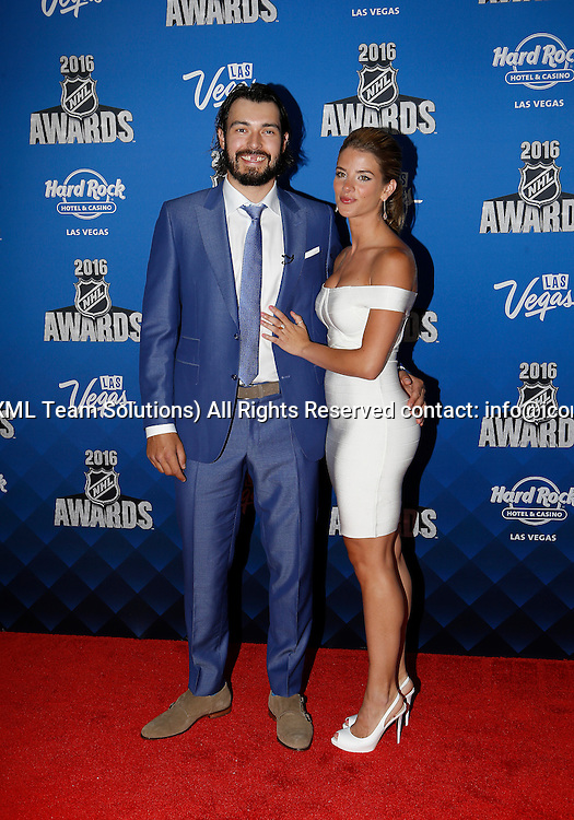 2016 June 22: Los Angeles Kings defenceman Drew Doughty and girlfriend Nicole Arruda pose for a photograph on the red carpet during the 2016 NHL Awards at the Hard Rock Hotel and Casino in Las Vegas, Nevada. (Photo by Marc Sanchez/Icon Sportswire)