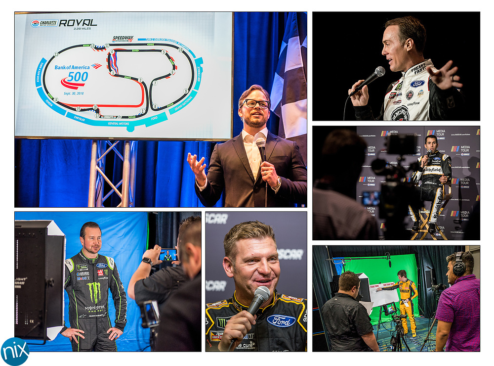 "Scenes from the NASCAR Media Tour hosted by Charlotte Motor Speedway going on this week. Clockwise from top left, Speedway Motorsports CEO Marcus Smith speaks during a press conference unveiling Charlotte Motor Speedway's ""Roval"" road course Monday afternoon; Kevin Harvic and Aric Almirola speak to television stations; Erik Jones films a promotional video; Clint Bowyer speaks to media members; and Kurt Busch films a promotional video."