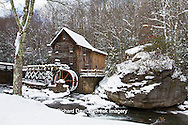 67395-04206 Glade Creek Grist Mill in winter, Babcock State Park, WV