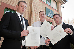 From left to right:  Dean Bentley, Ashley Lockwood and Michael Davies were among Twelve young men from the Barnsley area who made one of the first steps towards becoming professional soldiers today (23 March). In a special ceremony watched by family and friends they took the Oath of Allegiance at Barnsley TA Centre. The trio will need to undergo basic training then Job specific training before they become fully trained members of the Yorkshire Regiment...23 March 2011.Images © Paul David Drabble