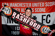PERTH, AUSTRALIA - JULY 13: A young Manchester United fan holds up a Marcus Rashford scarf during pregame at the International soccer match between Manchester United and Perth Glory on July 13, 2019 at Optus Stadium in Perth, Australia. (Photo by Speed Media/Icon Sportswire)