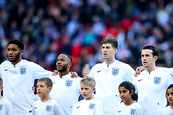 Joe Gomez, Raheem Sterling, John Stones and Ben Chilwell of England sing the national anthem - Mandatory by-line: Robbie Stephenson/JMP - 18/11/2018 - FOOTBALL - Wembley Stadium - London, United Kingdom - England v Croatia - UEFA Nations League