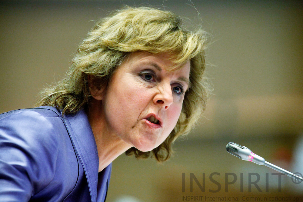 BRUSSELS - BELGIUM - 15 DECEMBER 2009 --  European Climate Action Commissioner-designate Connie Hedegaard of Denmark during her hearing by the European Parliament Environment, Public Health and Food Safety committee in Brussels. PHOTO: ERIK LUNTANG