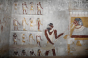 Wall paintings in the tomb of Qalhata, mother of King Tanwetamani, depict the queen's passage to the afterlife, pictured on Tuesday, March 27, 2007. The tomb is part of the royal cemetery at El Kurru of which little is known. The earliest tombs date from the 9th century BC, it is thought that El Kurru was an early capital of Kush before moving to nearby Jebel Barkal.  ..The ancient kingdom of Kush emerged around 2000 BC in the land of Nubia, what is today northern Sudan. At their height the Nubians ruled over ancient Egypt as the 25th Dynasty between 720 BC and 664 BC (known as the Black Pharaohs) and saw their borders reach to edges of Libya and Palestine. The Kushite kings saw themselves as guardians of Egyptian religion and tradition. They centered there kindgom on the Temple of Amun at Napata (modern day Jebel Barkal) and brought back the building of Pyramids in which to inter their kings - there are around 220 pyramids in Sudan, twice the number in Egypt. After Napata was sacked, by a resurgent Egypt, the capital was moved to Meroe where a more indigenous culture developed, Egyptian hieroglyphics made way for a cursive Meroitic script, yet to be deciphered. The Meroitic kingdom eventually fell into decline in the 3rd century AD with the arrival of Christianity.