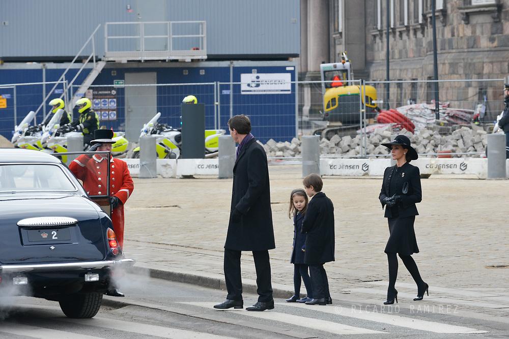 20.02.2018. Copenhagen, Denmark.<br /> Prince Joacim, Princess Marie, Prince Henrik and Princess Athena leaves the Christiansborg Palace Church. <br /> Photo: Ricardo Ramirez.