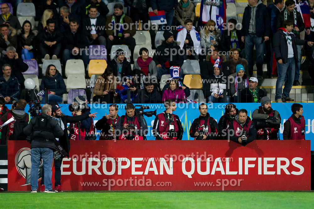 Photographers during the UEFA EURO 2016 Play-off for Final Tournament, Second leg between Slovenia and Ukraine, on November 17, 2015 in Stadium Ljudski vrt, Maribor, Slovenia. Photo by Urban Urbanc / Sportida