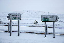 © Licensed to London News Pictures Ltd.. 01/02/2019. Bodmin Moor, UK. Motorists on the A30 on Bodmin Moor, who were stranded last night by heavy snowfall. Most motorists were put the up on camp beds in the nearby Jamaica Inn. Photo credit: Mark Hemsworth/LNP