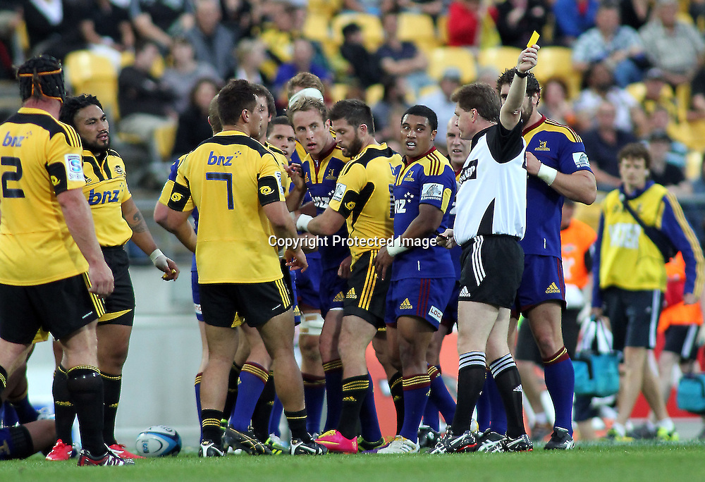 Hurricanes Ma'a Nonu is sent from the field yellow carded. Super 15 - Hurricanes v Highlanders, Westpac stadium, Wellington, 18 February 2011. PHOTO: Grant Down / photosport.co.nz