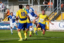 Tom Lockyer of Bristol Rovers is tackled by Tom Davies of Accrington Stanley Accrington Stanley he tries to shoot - Mandatory byline: Rogan Thomson/JMP - 07966 386802 - 12/09/2015 - FOOTBALL - Memorial Stadium - Bristol, England - Bristol Rovers v Accrington Stanley - Sky Bet League 2.