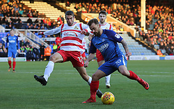 Danny Lloyd of Peterborough United in action with Matty Blair of Doncaster Rovers - Mandatory by-line: Joe Dent/JMP - 01/01/2018 - FOOTBALL - ABAX Stadium - Peterborough, England - Peterborough United v Doncaster Rovers - Sky Bet League One