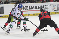 14.12.2014, Saturn Arena, Nürnberg, GER, DEL, Ice Tigers Nuernberg vs Augsburg Panthers, 27. Runde, im Bild Dan DaSilva (weiss-Augsburg) vs. David Printz (li.) und Corey Locke (re.) (schwarz-Nuernberg) // during Germans DEL Icehockey League 27th round match between Ice Tigers Nuernberg and Augsburg Panthers at the Saturn Arena in Nürnberg, Germany on 2014/12/14. EXPA Pictures © 2014, PhotoCredit: EXPA/ Eibner-Pressefoto/ Arth<br /> <br /> *****ATTENTION - OUT of GER*****