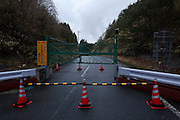 A roadblock on a rural road at the borders of the permanent exclusion zone near IIdate,  Fukushima, Japan, Wednesday May 1st 2013